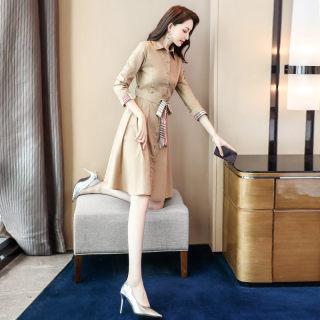 春新款显瘦拼接撞色袖口中长款连衣裙