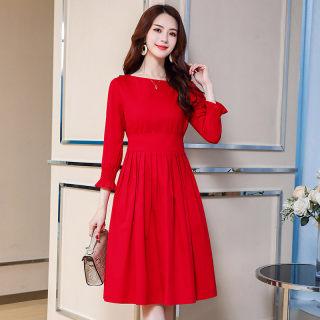 小个子连衣裙2020新款韩版假两件喇叭袖收腰A字裙子