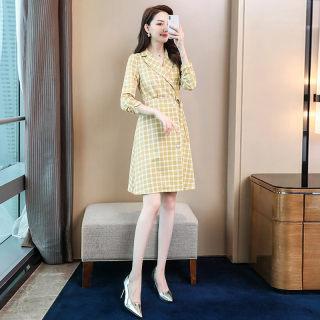 春新款系带收腰显瘦格子连衣裙