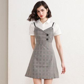 女装2020春上新背带裙格子裙修身甜美吊带裙时尚潮女