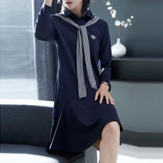 春新款Polo领条纹披肩拼接修身显瘦连衣裙