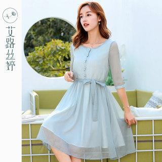 七分袖雪纺连衣裙夏季新款女装韩版收腰春小清新裙子