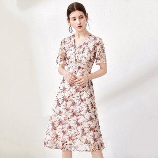 2020春夏新款女短袖收腰气质碎花雪纺中长款气质连衣裙
