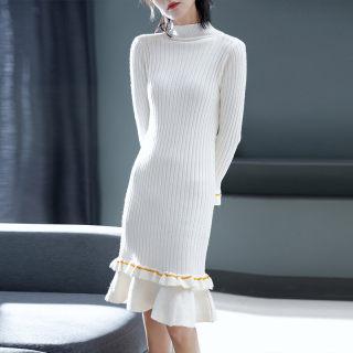 春新款半高领纯色长袖荷叶边中长款连衣裙