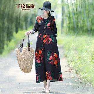 棉麻春新款 女民族风V领宽松印花中长款长袖连衣裙