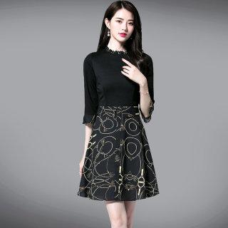 2020春新款女花边圆领拼接收腰时尚中款连衣裙