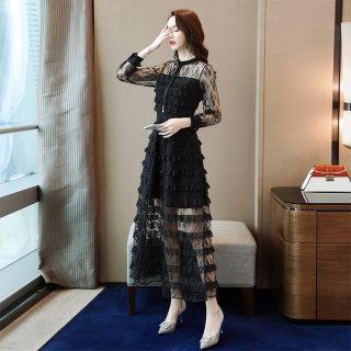 2020春夏季新款女时尚圆领长袖修身显瘦蕾丝连衣裙