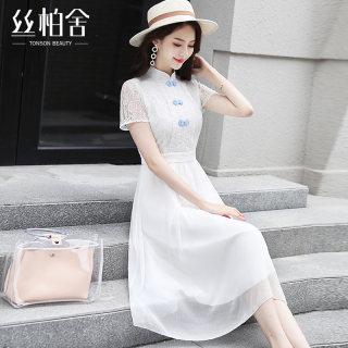 2020春夏新款女装时尚短袖花朵网纱中长款连衣裙