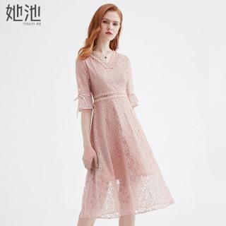 2020春夏新款女装时尚V领五分喇叭袖中长款连衣裙