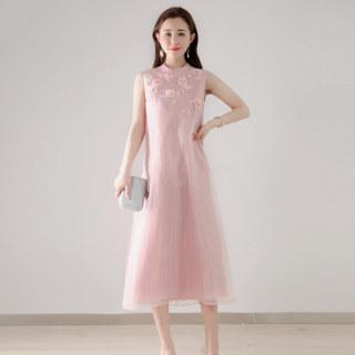 春夏季连衣裙女新款2020无袖气质纯色绣花中长款