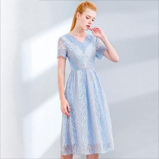 2020春夏新款女装纯色淑女V领短袖收腰中长款连衣裙