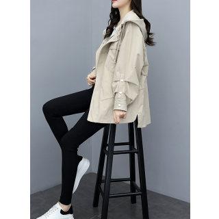 2020春款女韩版休闲连帽宽松前短后长工装外套