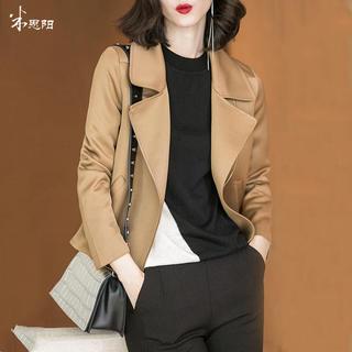 2020秋季新款时尚气质休闲翻领驼色修身显瘦短款夹克外套女