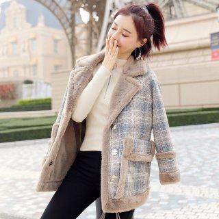 2020冬女款韩版时尚撞色格纹皮毛一体女式外套