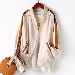 2020春女款短款外套棒球服撞色拼接百搭时尚外套