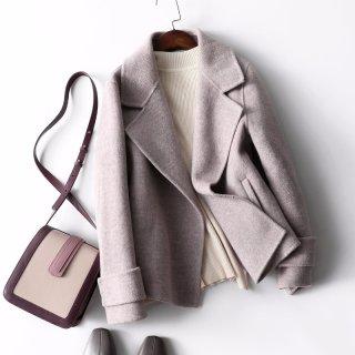 2020冬新款女款时尚简约气质人字纹双面呢大衣女式外套