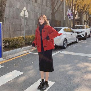 女红色羊羔毛外套女春季2020新款百搭韩版宽松小个子短款毛茸茸大衣外套女