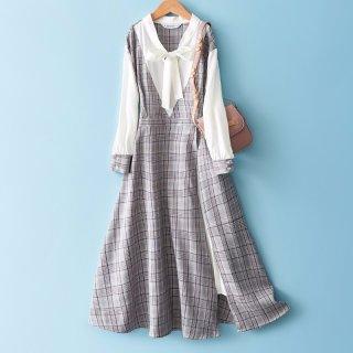 2020春女式中长款连衣裙优雅气质收腰格纹连衣裙