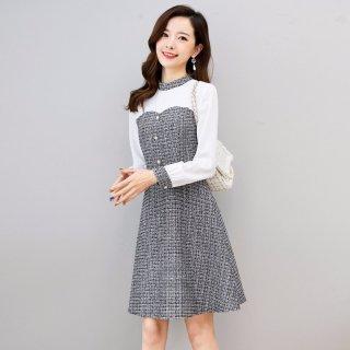 2020春女款雪纺气质优雅时尚拼接小香风连衣裙