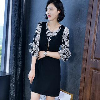 2020春新款长袖雪纺碎花中裙修身显瘦 秋季打底裙 连衣裙