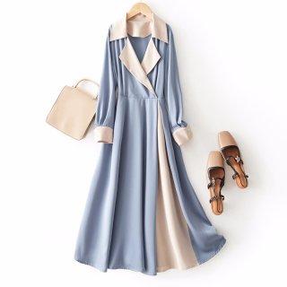 2020春连衣裙女优雅大方简约拼色收腰显瘦连衣裙
