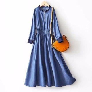 春女式连衣裙时尚简约收腰显瘦仿牛仔连衣裙