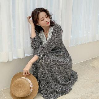 2020韩版女装春新款气质收腰中长款碎花连衣裙