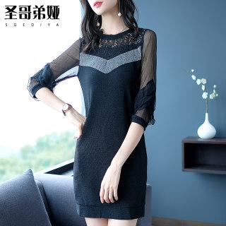 黑色蕾丝连衣裙2020春款 雪纺拼接中裙时尚气质包臀裙