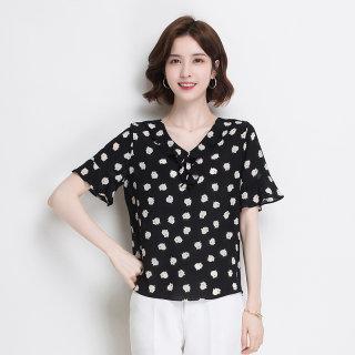 真丝短袖T恤女2020新款夏季V领小猪印花时尚气质短袖上衣女