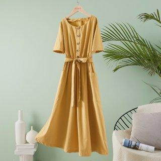 夏季裙子女式时尚装饰扣收腰大口袋显瘦简约连衣裙