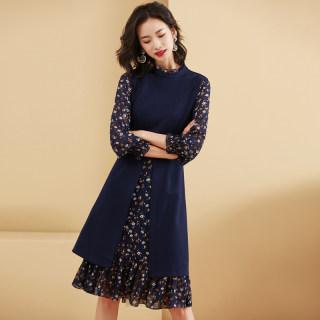 碎花连衣裙2020年新款女装春季法式复古轻熟风a字过膝假两件裙子