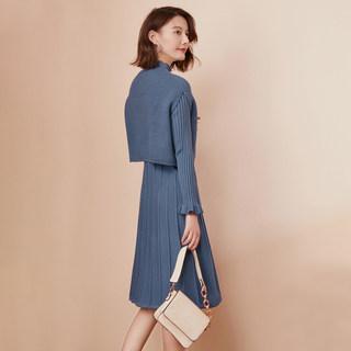 背心裙女春装2020年新款修身显瘦初秋两件套针织连衣裙a字裙春季