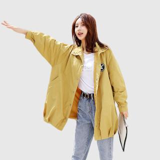 2020新款春季流行简约时尚韩版休闲中长款收腰显瘦连帽风衣