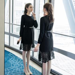 2020冬季新款大码女装胖妹妹裙子时尚腰带显瘦鱼尾摆连衣裙潮
