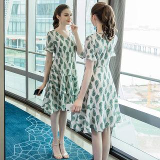 大码女装胖mm时尚印花连衣裙2020夏季新款200斤荷叶边宽松裙