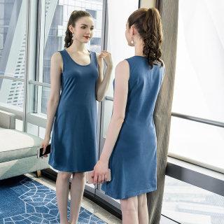 2020春装新款胖mm显瘦百搭背心连衣裙大码女装简约遮肚裙子女