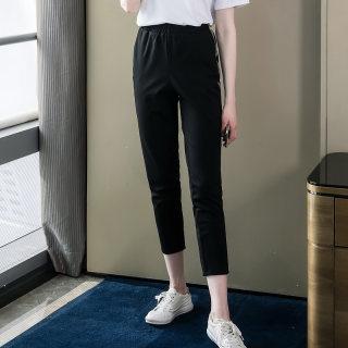 2020春装新款胖mm裤子宽松大码女装钉珠休闲百搭萝卜九分裤