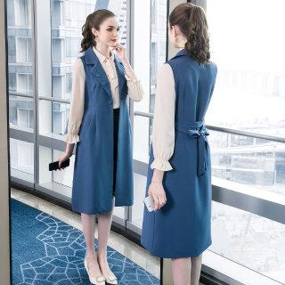 2020春装新款胖mm裙子气质大码女装绑带显瘦无袖西装领连衣裙