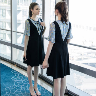2020夏装新款胖mm印花裙子大码女装宽松减龄时尚假两件连衣裙