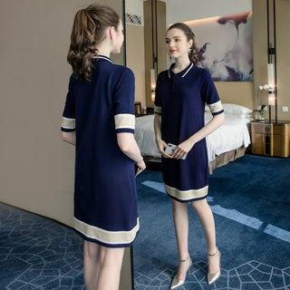 大码针织连衣裙2020夏装新款胖mm宽松遮肚子减龄Polo领直筒裙
