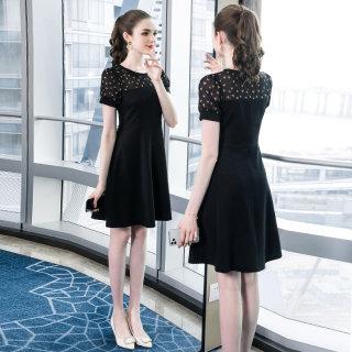 2020夏装新款胖mm大码女装短袖裙子时髦优雅圆领显瘦连衣裙