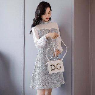 2020春装新款雪纺连衣裙女款气质优雅时尚圆领拼接小香风长袖