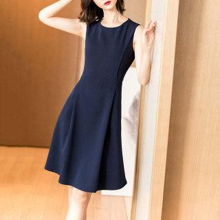 春季新款气质蓝色背心裙子收腰显瘦A字无袖连衣裙