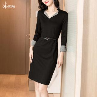2020春装新款气质优雅拼接小黑裙修身显瘦OL针织包臀连衣裙