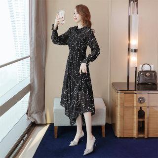 2020春装新款女时尚气质圆领印花不规则连衣裙