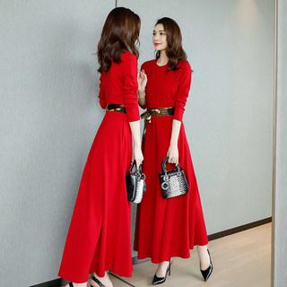 2020新款春装长袖连衣裙时尚腰带拼接修身长款打底连衣裙