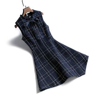 2020春装新款女系带不规则下摆格纹A字连衣裙