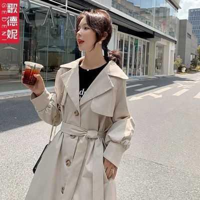 【热销】风衣女中长款外套气质宽松2020秋季新款时尚腰带设计灯笼
