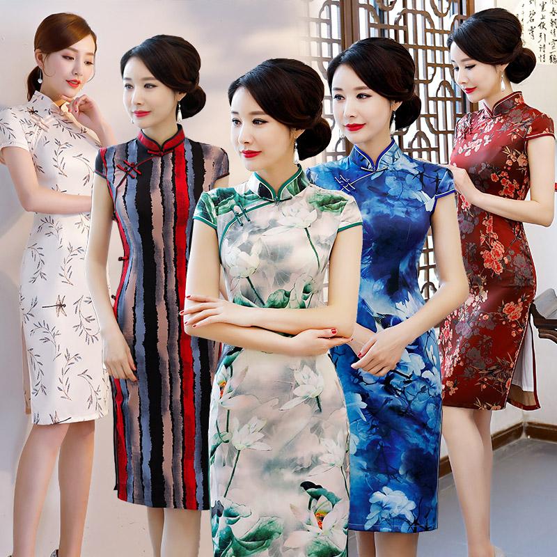 秋季新款中长款老上海旗袍中款双层丝绸中国风旗袍古典优雅端庄大气中长款旗袍