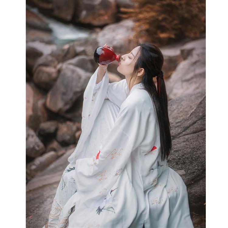古典民族风绣花汉服白色仙鹤刺绣齐腰襦裙古典女装民族风齐腰襦裙汉服